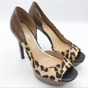 Jessica Simpson Leather Cheetah Print Pump Heels 8